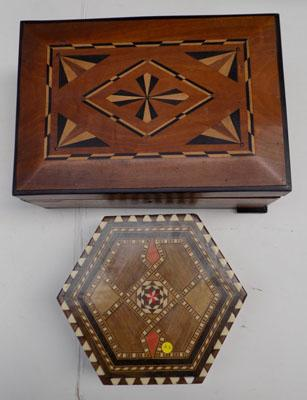 2x Ornate wooden trinket/jewellery boxes