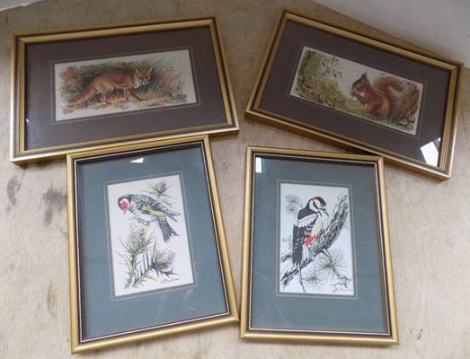 4x Small woven silk pictures by 'Cash'