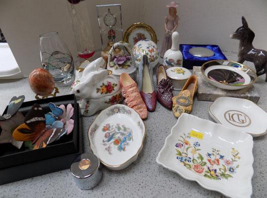 2 Trays of mixed pottery including Aynsley and Royal Albert