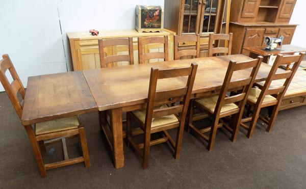Solid Oak extending table & 8 chairs