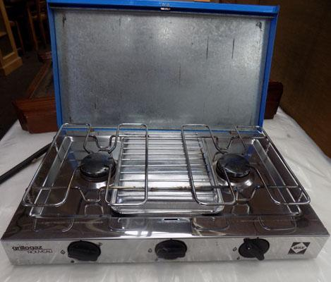 Camping double burner grill and deluxe super stove