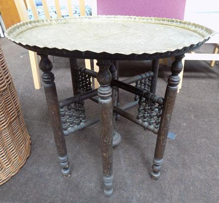 Brass topped fold up table