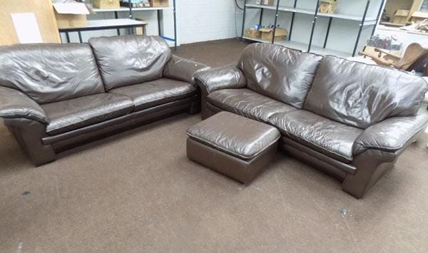 2x Large two seater settees & pouffe