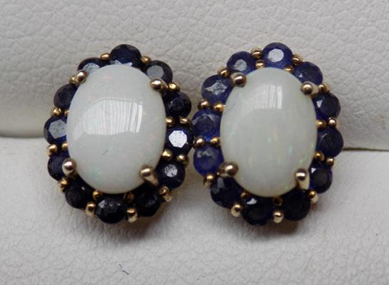 Pair of 9ct Gold Opal & Sapphire ear rings