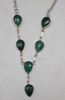 925 Silver Emerald necklace