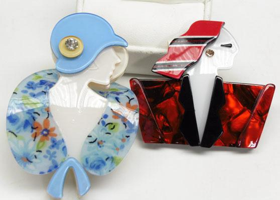 2x Art Deco style Lucite brooches-1 red & 1 blue. Lea Stein style brooches