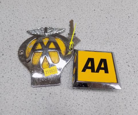 2 vintage AA badges and AA key