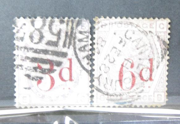 1880 3d and 6d overprints stamps