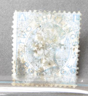Rare 1870 2 shilling blue stamps. Cat £300
