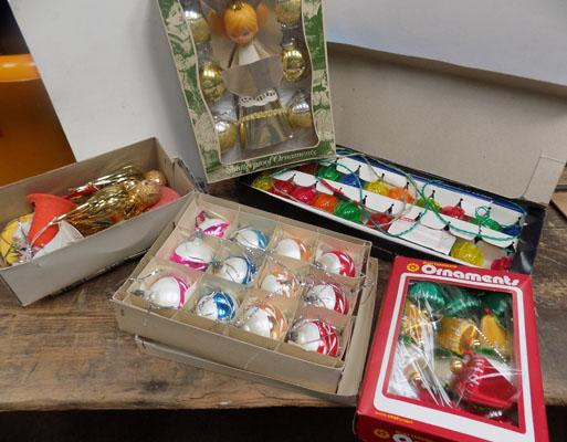 Selection of vintage Christmas tree decorations