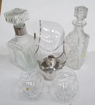2x Crystal decanters, 2x Crystal glasses & Brandy warmer