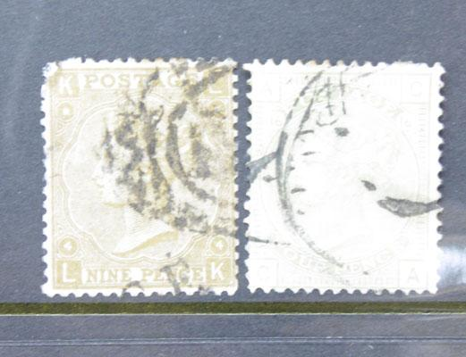 Queen Victoria stamps 9d bistre and 4d sage green