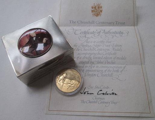 Solid silver & enamel Winston Churchill 1952 tobacco box & 22ct on sterling silver coin
