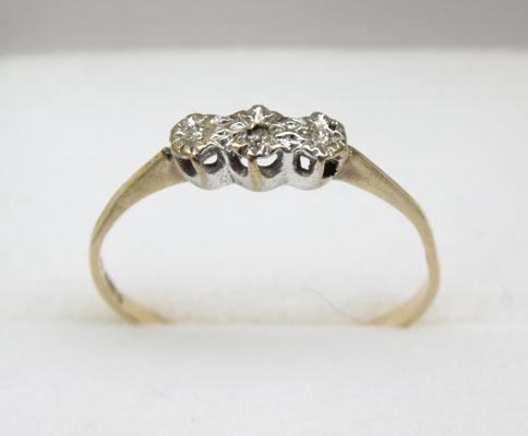 9ct Gold diamond Trilogy ring size N1/2