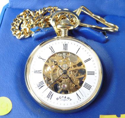 Rotary wind up pocket watch - gold coloured w/o