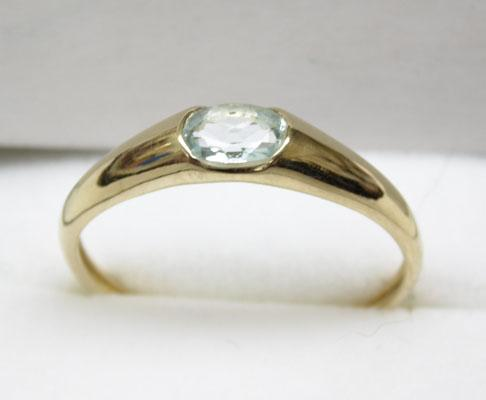 9ct Gold Aquamarine ring size U
