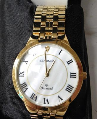 Gold coloured Sekonda watch w/o with Mother of Pearl face