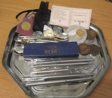 Selection of collectables inc coins, silver plate etc