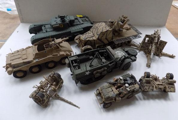 Model tanks, half tracks, guns etc
