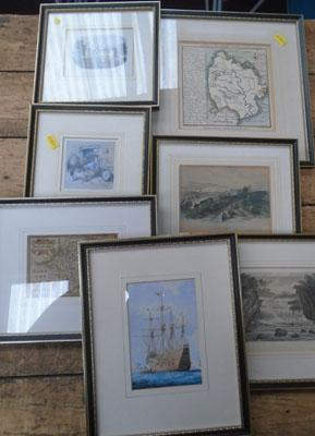 7 old framed prints of Yorkshire