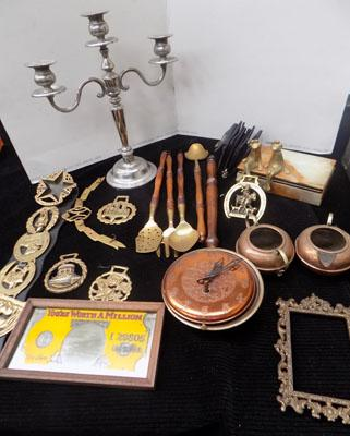 Box of brass & copper ware inc candelabra