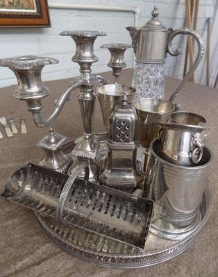 Tray of silver plated items
