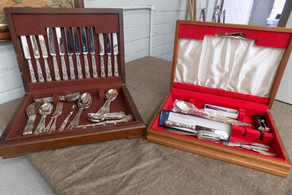 2 Canteen of cutlery cases with various cutlery in