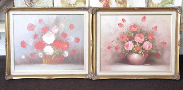 2 oil on canvas paintings in gold frames