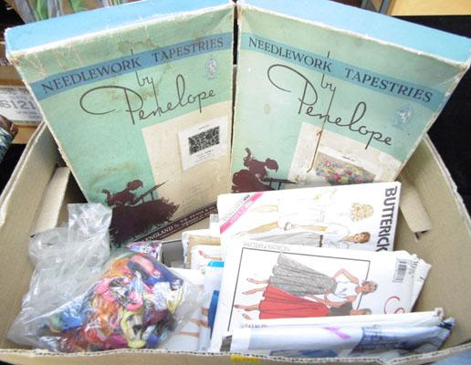 Box of vintage sewing patterns & others