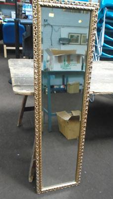 Tall framed hall bevelled mirror