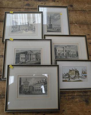 6 old framed prints of Leeds