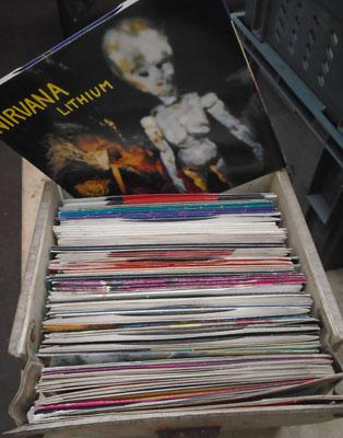 Box of 45's picture sleeves (singles)