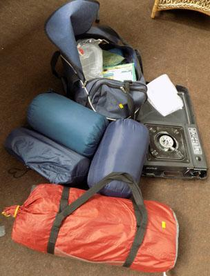 3 Man tent, 3 sleeping bags & camping accessories
