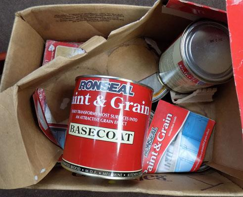 Box of Ronseal paint & grain tins