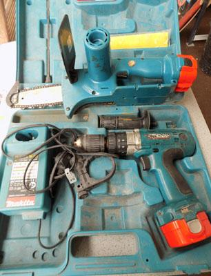 Makita drill & chain saw with charger