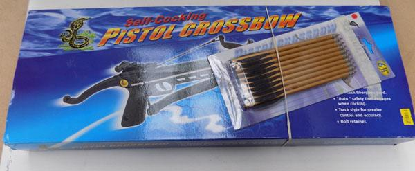 Boxed self cocking Pistol crossbow & Quivers