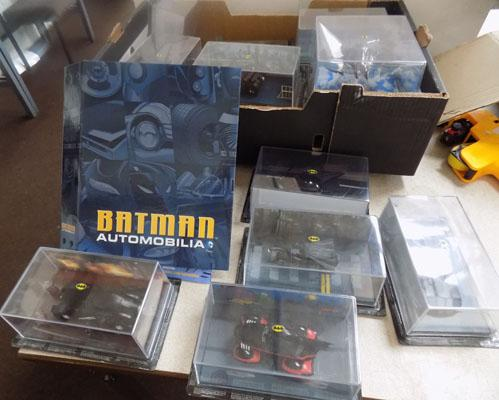Selection of boxed Batmobiles & magazines