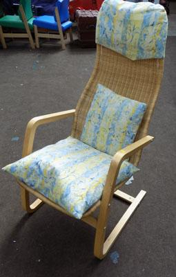 Wicker back easy chair