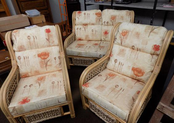 Cane sofa & 2 cane chairs