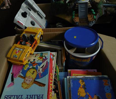2x Boxes of vintage toys, games & books