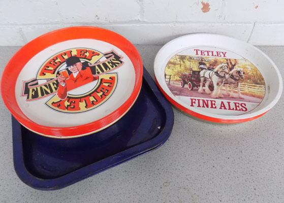 Selection of vintage pub trays