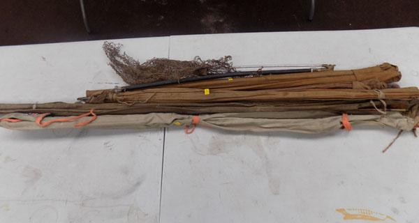 5x Fishing rods (1x GRP, 4 cane) & net