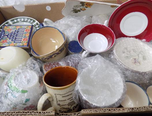 Large box of mixed pottery & ceramics