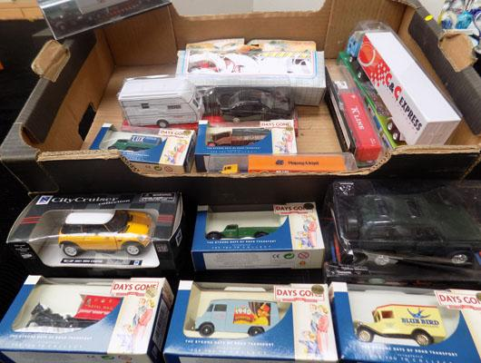 Box of boxed die cast trucks & cars