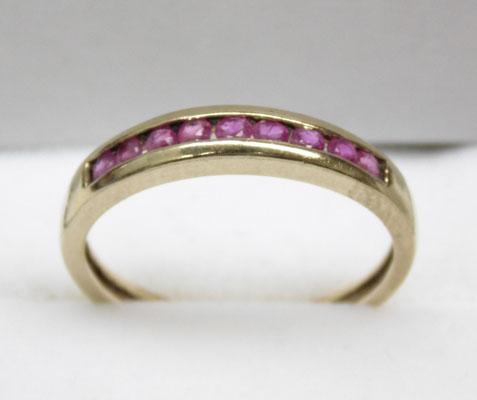 9ct Gold Ruby channel set ring size P