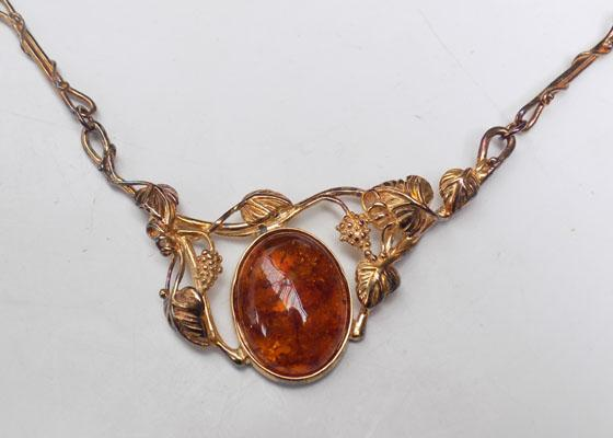 Gold on sterling silver & Amber necklace