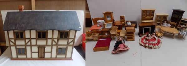 Vintage dolls house with furniture and lighting.