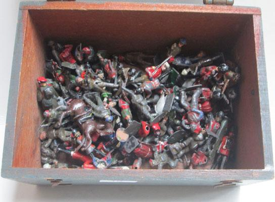 Vintage WWII amo box containing 1930's Ledo soldiers/Charbens/Dinky