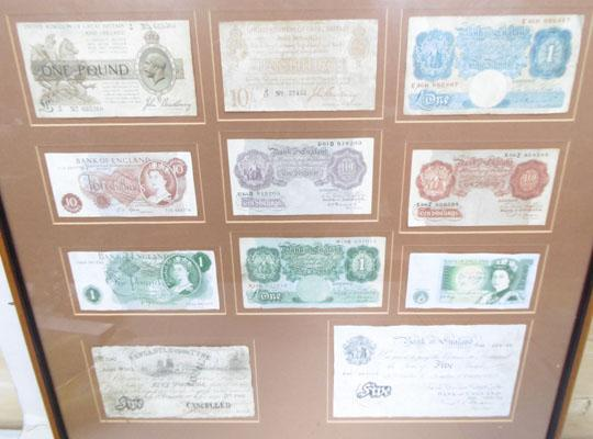 Framed collection of British bank notes