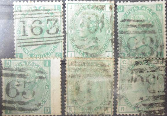 1870's 1 shilling green x6